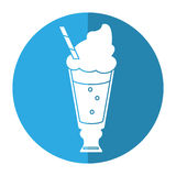 Glass cup drink cream glace straw fresh - round icon Stock Photography