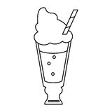 Glass cup drink cream glace straw fresh thin line Royalty Free Stock Photos