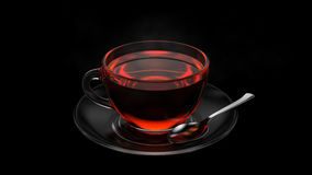 Glass cup of English tea on black background Stock Images