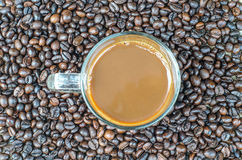 Glass cup of espresso coffee with coffee bean background texture. Vintage retouching Stock Images
