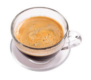 Glass cup of espresso coffee. Isolated on white background Stock Image