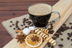 Glass cup espresso coffee royalty free stock photos