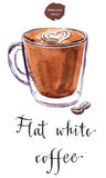 A glass cup of flat white coffee Royalty Free Stock Photo