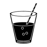 Glass cup fresh drink with straw pictogram Royalty Free Stock Photography