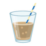 Glass cup fresh drink with straw Royalty Free Stock Photography