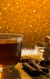 Glass cup of fresh hot tea and sugar royalty free stock images
