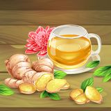 Ginger tea vector composition on wooden background Stock Photography