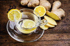 A glass cup of ginger tea Stock Photography