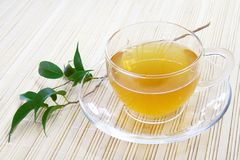 Glass Cup of Green Tea. On Bamboo Napkin Royalty Free Stock Photos