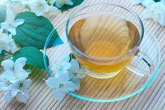 Cup of green tea with jasmine flowers. Glass cup of green tea with jasmine flowers royalty free stock photography