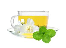 Glass cup of green tea with jasmine flowers isolated on white Royalty Free Stock Photo