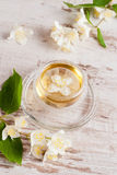 Glass cup of green tea with jasmine on wooden background. Close-up Royalty Free Stock Photo