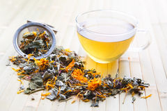 Glass cup of herbal tea Royalty Free Stock Photography