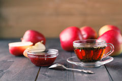Glass cup of herbal tea with raspberry jam Royalty Free Stock Photos
