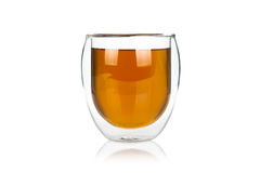 Glass cup of hot green tea on white Royalty Free Stock Photos