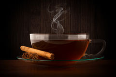 Glass cup of hot tea Royalty Free Stock Images