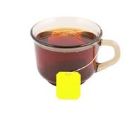 Glass cup of hot tea with tea bag Stock Photography