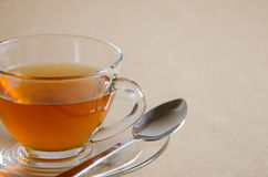 Glass Cup of Hot Tea for Tea Break. Glass cup of hot tea for tea break time Royalty Free Stock Photos