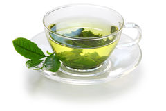 Glass cup of Japanese green tea. Isolated on white background royalty free stock photo
