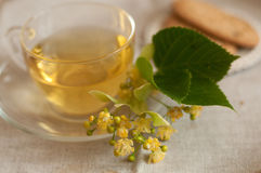 A glass cup of lime flower tea and biscuits on a linen surface Stock Image