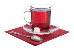 Glass cup with red tea Royalty Free Stock Photos