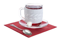 Glass cup with red tea Royalty Free Stock Images