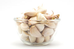 Glass cup of rood garlic, on white. Background Stock Images