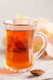 Glass cup of rooibos tea Royalty Free Stock Photos