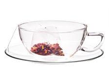 Glass cup and saucer Royalty Free Stock Images