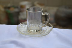 Glass cup and Saucer Royalty Free Stock Photo