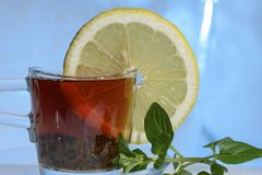 Glass cup of strong black tea on a beautiful blue ice with yellow lemon and green mint. Royalty Free Stock Photo