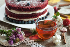 A glass cup of tea and a beautiful homemade cake on a linen surface decorated with blueberries, hips and cinnamon sticks Royalty Free Stock Photos