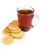 Glass cup of tea and cookies Stock Photography