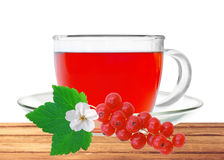 Glass cup tea with fresh currant on wooden table isolated on whi Stock Photos