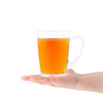 Glass cup of tea in hand Royalty Free Stock Photo