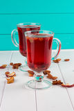 Glass cup of tea with hibiscus and lemon, cinnamon Royalty Free Stock Photos