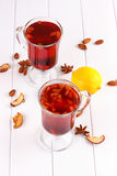 Glass cup of tea with hibiscus and lemon, cinnamon Royalty Free Stock Images
