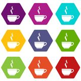 Glass cup of tea icon set color hexahedron Royalty Free Stock Photos