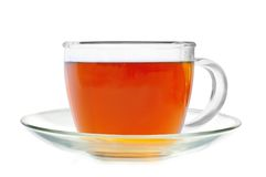 Glass cup tea isolated on white Royalty Free Stock Image