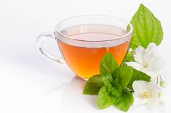 Glass cup of Tea with jasmine flowers and leaves of mint. Over white stock photo