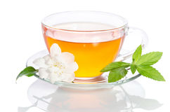 Glass cup of tea with jasmine Stock Photo
