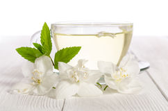 Glass cup of tea with jasmine Stock Photography