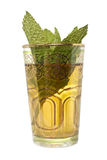 Glass cup of tea with leaves of mint Royalty Free Stock Photos