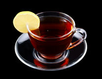 Glass cup of tea with lemon Royalty Free Stock Photos