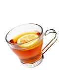 Glass cup of tea with lemon Royalty Free Stock Image