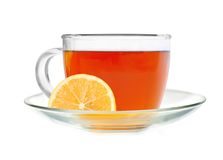 Glass cup tea with lemon slice Royalty Free Stock Image