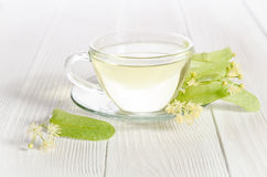 Glass cup of tea with linden Stock Photos