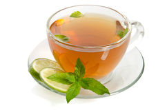 Glass Cup Tea with Mint and Slices of Lime Stock Photography