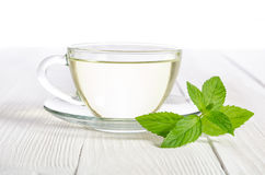 Glass cup of tea with mint Stock Photo