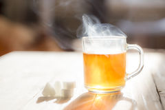 Glass cup with tea. Picture of glass mug with tea at sunny day Royalty Free Stock Image